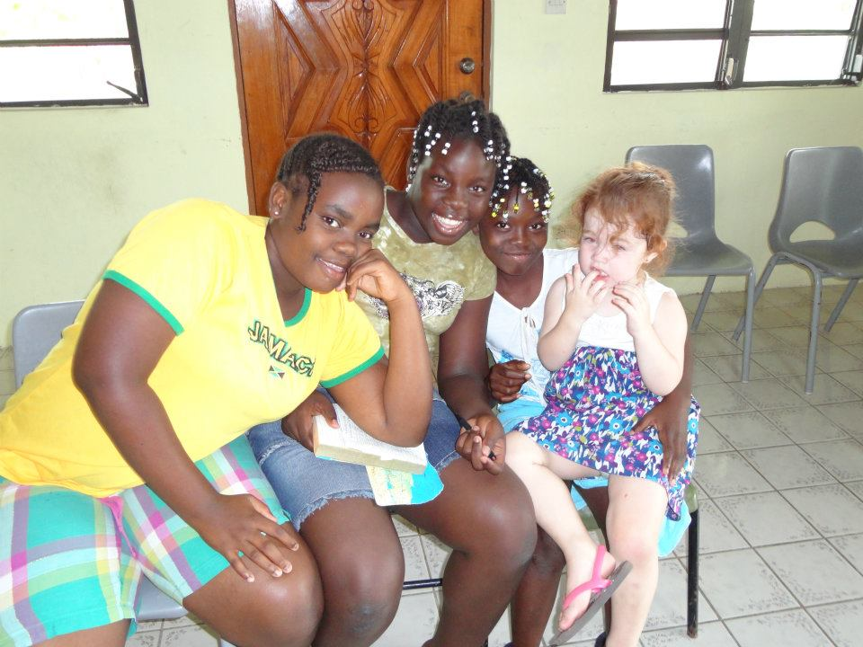 Maddy with the girls at the Nevis Good News Club