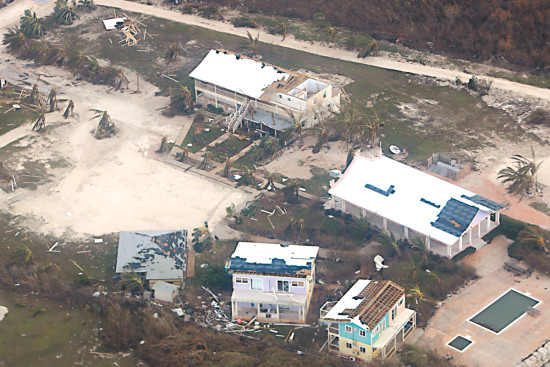 The aerial view of Long Island after Hurricane Joaquin ripped through the island causing major damage to homes, buildings and property.